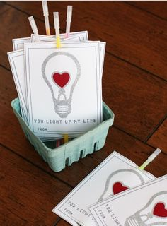"""Valentine's Day (definitely using this one in the future)... Attach pic of lightbulb with saying """"Valentine, you light up my life!""""  to a glow-stick!!!"""