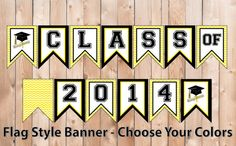 Graduation Banner - Flag Style Bunting - Class of 2014 Party Printables - Chevron Pattern DIY