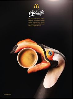 creative campaign Leo Burnett London produced an animal inspired campaign for McCafs Rainforest Alliance Certified coffee with photographer Jason Hindley and Italian artist Guido Daniele. Creative Review, Ads Creative, Creative Posters, Creative Advertising, Creative Coffee, Creative Director, Coffee Advertising, Print Advertising, Advertising Campaign