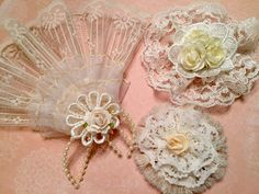 Vintage Lace Embellishment, Shabby Chic Fan, Decoration, Package Topper, Flower Group, Bag Flower, Hair Accessory, Home Decor, Brooch Supply by CraftStuffDepot on Etsy