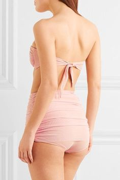 Norma Kamali - Jonny D Ruched Stretch-tulle Bandeau Bikini Top - Baby pink - x small