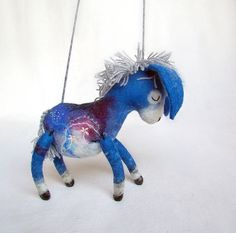 Blue Celestine  Felt Donkey with long floppy ears by TwoSadDonkeys, $60.00