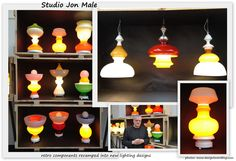 LOVE these lamps made from recycled lamp shades