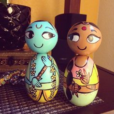 Finished masterpieces from the lovely person who asked for the DIY Radha-Krishna! They are utterly charming, don't you think? 😍 #radhakrishna #krishna #DIY #coloring #colouring #etsystudio #craftkit #customdoll #dollstagram #studioyali