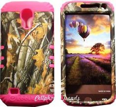HYBRID Cover Case for Samsung Galaxy S4 Mini i9190 Camo Branch Oak Tree on PINK