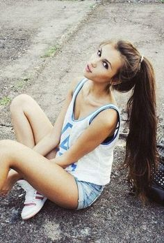 Long brunette ponytail