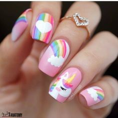 50 Magical Unicorn Nail Art Designs - Many people have a passion for unicorn nails. And Unicorn nails are becoming a unique trend. Cute Nail Art, Cute Nails, Pretty Nails, Girls Nail Designs, Cute Nail Designs, Nails For Kids, Girls Nails, Nail Art Kids, Food Nail Art