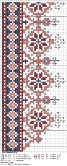 kvarde-44_bryst Crewel Embroidery Kits, Beaded Embroidery, Cross Stitch Embroidery, Embroidery Patterns, Cross Stitch Boarders, Cross Stitching, Cross Stitch Patterns, Knitting Charts, Knitting Patterns