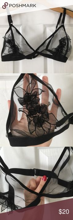 ✨FLASH SALE✨Handmade Flower Appliqué Bralette Super delicate & beautiful! Never been worn! Similar to the for love and lemons ones. This one is handmade. Would fit a 34 B/C or a 32D best. NOT urban just tagged for exposure) Feel free to make an offer or bundle for 20% off! Urban Outfitters Intimates & Sleepwear Bras