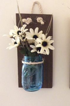 Mason Jar Wall Sconce (SET OF TWO) Hand Crafted Rustic Wall Decor Mason Jar…