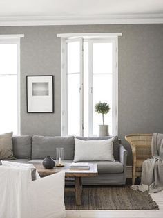 Scandinavian Living room in Gray and White Living Room Interior, Living Room Decor, Front Room Furnishings, Interior Wallpaper, Country Interior, Beautiful Interior Design, Scandinavian Living, Living Room Inspiration, Outdoor Furniture Sets