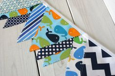 Bunting Fabric Banner, Fabric Flags, Nautical Nursery Decor, Birthday Decoration - Navy Blue, Lime Green Whales and Chevron - Ready to Ship