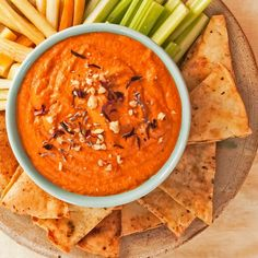 Tired of hummus? Try Muhammara. It is made with roasted red peppers, walnuts, and pomegranate molasses. It is delicious.