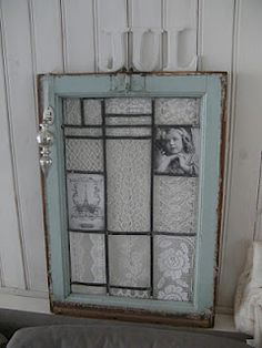 old window frame with lace.  Made it myself