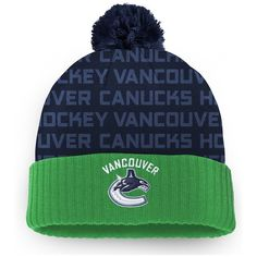 timeless design 45940 46c3c Men s Vancouver Canucks Fanatics Branded Green Authentic Pro Rinkside - Cuffed  Knit Hat with Pom,