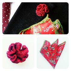 Cotton Christmas exclusive pocketsquare with red flower http://toptrendhombre.com/blog/tienda-online/panuelos/pocket-square-christmas-print-con-ribete-verde-esmeralda-jakob-buchli/