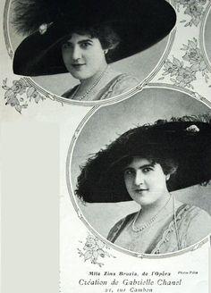1910 - Mlle Zia Brozia wears Chanel hats in Comoedia Illustré