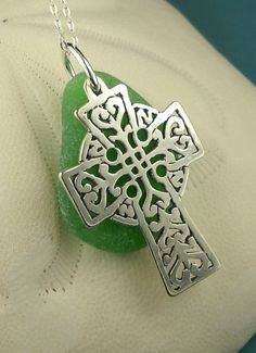Celtic Jewelry  Green Sea Glass Sterling by seaglassgems4you, $45.00