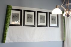 using wrapping paper grid to create perfect gallery wall