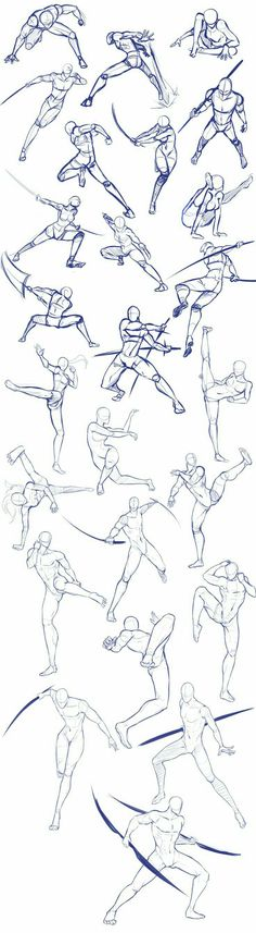 Battle/action poses by Antarija on DeviantArt - Body positions, weapons, fighting, swords; How to Draw Manga/Anime - Drawing Techniques, Drawing Tips, Drawing Sketches, Pencil Drawings, Drawing Ideas, Body Sketches, Fall Drawings, Manga Drawing Tutorials, Drawing Drawing
