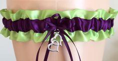 Apple Green and Plum Purple Wedding Garter, Prom Garter