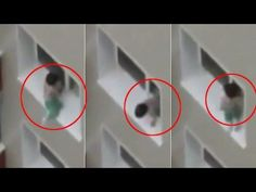 Worrying footage shows toddler playing on slender window ledge of eighth...