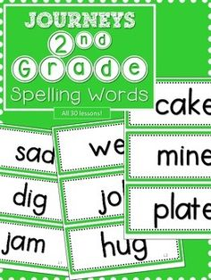 Journeys 2nd Grade Spelling Words- GreenAll green, coded at the bottom with lesson and number Display each week for constant visibility.Use my FREE spelling word filing system to file them away by lesson.