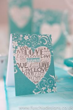 Typography Heart wedding stationery collection. Cute mini notebooks, make great table gifts. www.fuschiadesigns.co.uk