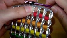 How to crochet soda tab clutch purse ( vid. Soda Tab Crafts, Can Tab Crafts, Aluminum Can Crafts, Tape Crafts, Capsule Coca, Pop Tab Purse, Clutch Purse, Pop Top Crafts, Pop Can Tabs