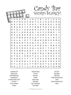 How many delicious things can you find in this candy bar word search?  There are 23 popular treats hidden in this free printable.