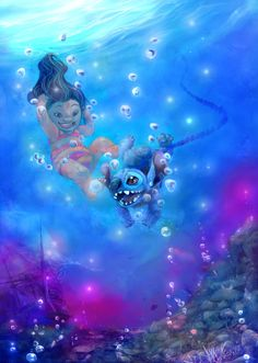 under the sea lilo and stich created by tish joan disney creater. bubbles cute pic of lilo and stich. Disney Pixar, Walt Disney, Disney Fan Art, Disney Animation, Disney And Dreamworks, Disney Magic, Animation Movies, Lilo Stitch, Lilo And Stitch 2002