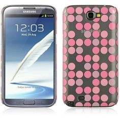 DW Crystal Skin Moda Dots Case for Samsung Galaxy Note 2 - Pink/Clear