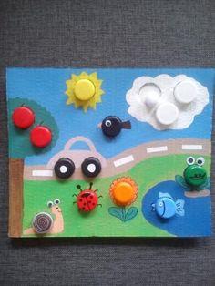 Preschool Learning Activities, Infant Activities, Motor Activities, Preschool Crafts, Diy Crafts For Kids, Bottle Cap Crafts, Kids And Parenting, Geo Board, Transportation Crafts