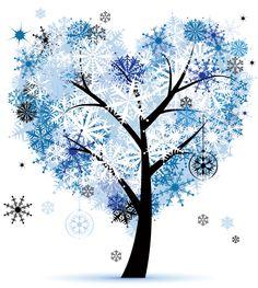 葉っぱの見本画像-冬の樹木・ハート型
