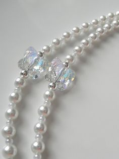 Delicate Silver Eyeglass Eyewear Chain Glass Clear Beads Silver Ball Holder #36 Health & Beauty Eyeglass Chains & Holders