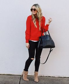 Red sweater, black skinnies, tan boots Source by Sweaters Preppy Fall Outfits, Casual Outfits, Cute Outfits, Red Dress Outfit Casual, Winter Sweater Outfits, Oversized Sweater Outfit, Tan Boots, Black Skinnies, Red Sweaters