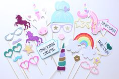 22pc * Unicorn Party Photobooth Props/ Rainbow Party /Girls Party Props by ThePartyGirlStudio on Etsy
