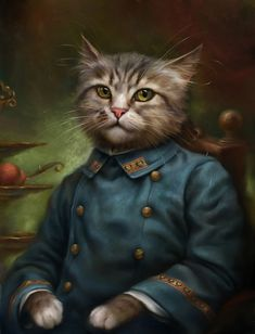 The Hermitage Court Confectioner Apprentice Cat. Digital Art Illustrations of Smartly Dressed Cats. By Eldar Zakirov.