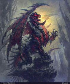 Dragon rouge et noir