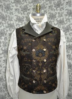 quite like this style of high rising double breast waistcoat .... Men's 1800's Style Double Breasted Victorian/Steampunk Vest--Made to Order----available in chest sizes 30-48 inches
