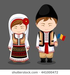 Moldovans in national dress with a flag. A man and a woman in traditional costume. Travel to Moldavia. Welcome to Moldova. Romania People, Travel To Ukraine, Costumes Around The World, Travel Party, Travel Drawing, Thinking Day, Moldova, Flat Illustration, Illustrations