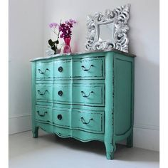 Out There Interiors Vintage Style Turquoise Chest Of Drawers ($1,525) ❤ liked on Polyvore featuring home, furniture, storage & shelves, dressers, antique style dresser, turquoise dresser, antique style furniture, antique looking dressers and antique looking furniture