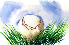 Jake Marshall watercolor. Sketchbook watercolor of a baseball in the grass.