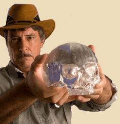 Bill Homann with the Mitchell-Hedges Crystal Skull or now known as the Skull of Love. Said to be found in the Mayan ruins of Belize. An inspiration to such projects as the Indiana Jones film.