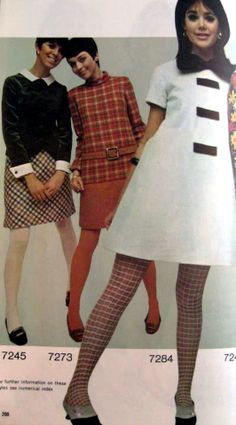 1960s style dresses & patterned tights; so popular.