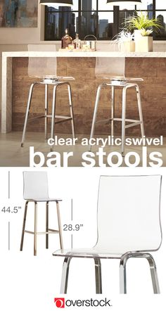 Find everything you need to give your dining room a refresh at Overstock.com. Shop thousands of products and beautiful new furniture, including these clear acrylic swivel bar stools, at the lowest prices---coffee tables, lamps, home décor, and more! Overstock.com -- All things home. All for less.