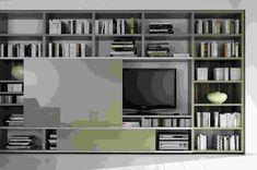 meuble tv bibliotheque beige-laque-vase-peinture-murale