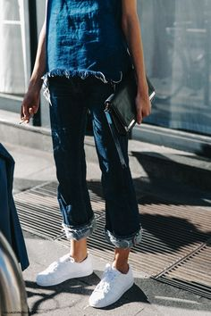 Double denim | white sneakers | street style | Harper and Harley
