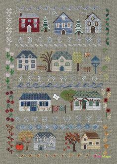 grille au point de croix DIAGRAMME - Sampler petites maisons - DMC