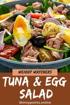 Tuna and Egg Salad - Skinny Points Recipes Coconut Oil Cream, Tuna Egg Salad, Weightwatchers Smartpoints, Tuna And Egg, Skinny Points, Healthy Salad Recipes, Eggs, Ethnic Recipes, Food